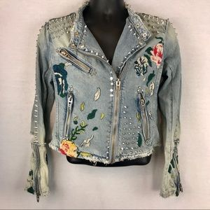 Blank NYC Denim Embellished and Embroidered Jacket